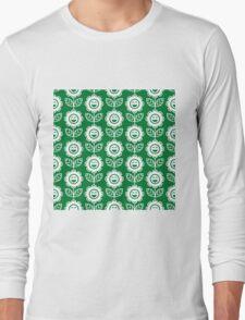 Green Fun Smiling Cartoon Flowers Long Sleeve T-Shirt