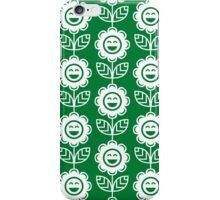Green Fun Smiling Cartoon Flowers iPhone Case/Skin