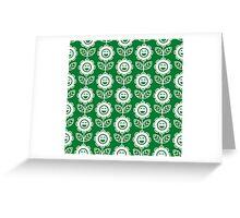 Green Fun Smiling Cartoon Flowers Greeting Card