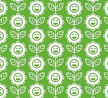 Grass Green Fun Smiling Cartoon Flowers by ImageNugget