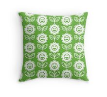 Grass Green Fun Smiling Cartoon Flowers Throw Pillow