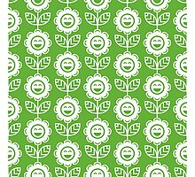 Grass Green Fun Smiling Cartoon Flowers Photographic Print