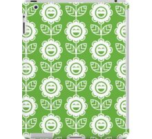 Grass Green Fun Smiling Cartoon Flowers iPad Case/Skin