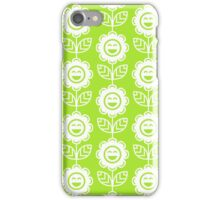 Lime Green Fun Smiling Cartoon Flowers iPhone Case/Skin