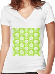Lime Green Fun Smiling Cartoon Flowers Women's Fitted V-Neck T-Shirt