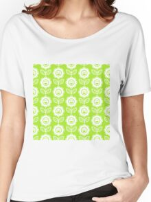 Lime Green Fun Smiling Cartoon Flowers Women's Relaxed Fit T-Shirt