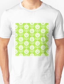 Lime Green Fun Smiling Cartoon Flowers Unisex T-Shirt