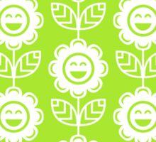 Lime Green Fun Smiling Cartoon Flowers Sticker