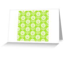 Lime Green Fun Smiling Cartoon Flowers Greeting Card