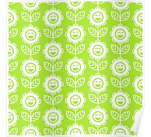 Lime Green Fun Smiling Cartoon Flowers Poster