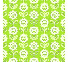 Lime Green Fun Smiling Cartoon Flowers Photographic Print