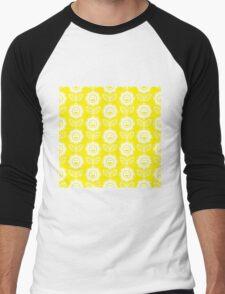 Yellow Fun Smiling Cartoon Flowers Men's Baseball ¾ T-Shirt