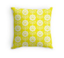 Yellow Fun Smiling Cartoon Flowers Throw Pillow