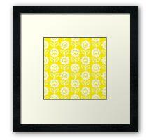 Yellow Fun Smiling Cartoon Flowers Framed Print