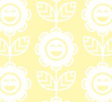 Cream Fun Smiling Cartoon Flowers Sticker