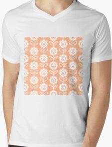 Peach Fun Smiling Cartoon Flowers Mens V-Neck T-Shirt