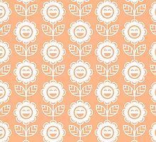 Peach Fun Smiling Cartoon Flowers by ImageNugget