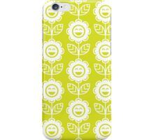 Chartreuse Fun Smiling Cartoon Flowers iPhone Case/Skin