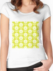 Chartreuse Fun Smiling Cartoon Flowers Women's Fitted Scoop T-Shirt