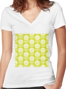 Chartreuse Fun Smiling Cartoon Flowers Women's Fitted V-Neck T-Shirt