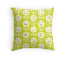 Chartreuse Fun Smiling Cartoon Flowers Throw Pillow