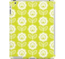 Chartreuse Fun Smiling Cartoon Flowers iPad Case/Skin
