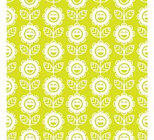 Chartreuse Fun Smiling Cartoon Flowers Photographic Print