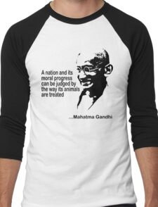 Animal Rights Mahatma Gandha Men's Baseball ¾ T-Shirt