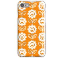 Orange Fun Smiling Cartoon Flowers iPhone Case/Skin
