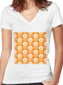 Orange Fun Smiling Cartoon Flowers Women's Fitted V-Neck T-Shirt