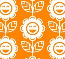 Orange Fun Smiling Cartoon Flowers Sticker