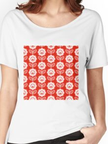 Red Fun Smiling Cartoon Flowers Women's Relaxed Fit T-Shirt