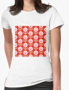 Red Fun Smiling Cartoon Flowers Womens Fitted T-Shirt