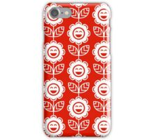 Red Fun Smiling Cartoon Flowers iPhone Case/Skin