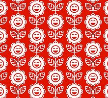 Red Fun Smiling Cartoon Flowers by ImageNugget