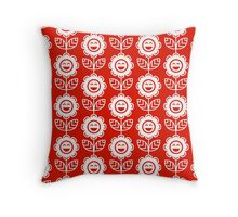 Red Fun Smiling Cartoon Flowers Throw Pillow