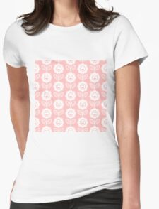 Light Pink Fun Smiling Cartoon Flowers Womens Fitted T-Shirt