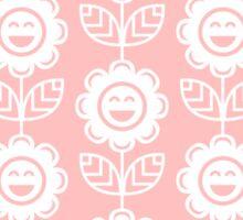 Light Pink Fun Smiling Cartoon Flowers Sticker