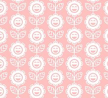 Light Pink Fun Smiling Cartoon Flowers by ImageNugget