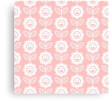 Light Pink Fun Smiling Cartoon Flowers Canvas Print