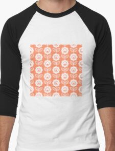 Coral Fun Smiling Cartoon Flowers Men's Baseball ¾ T-Shirt