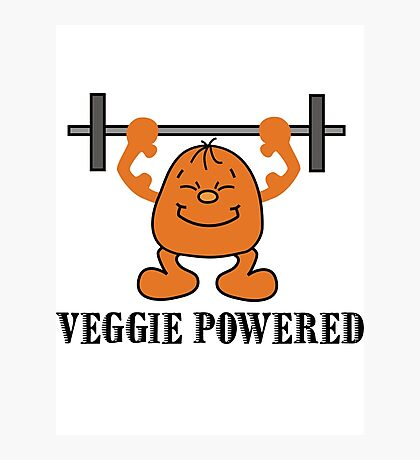 "Vegetarian ""Veggie Powered"" T-Shirt Photographic Print"