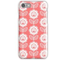 Pink Fun Smiling Cartoon Flowers iPhone Case/Skin