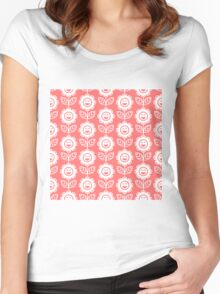 Pink Fun Smiling Cartoon Flowers Women's Fitted Scoop T-Shirt
