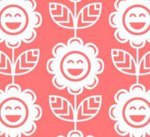 Pink Fun Smiling Cartoon Flowers Sticker