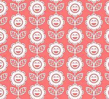 Pink Fun Smiling Cartoon Flowers by ImageNugget