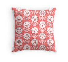 Pink Fun Smiling Cartoon Flowers Throw Pillow
