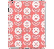 Pink Fun Smiling Cartoon Flowers iPad Case/Skin