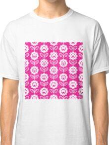 Hot Pink Fun Smiling Cartoon Flowers Classic T-Shirt