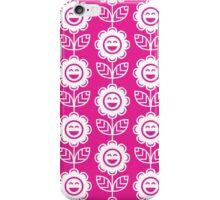 Hot Pink Fun Smiling Cartoon Flowers iPhone Case/Skin